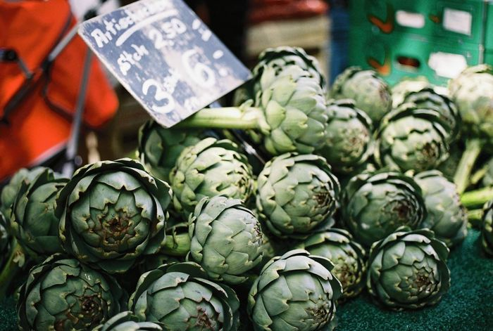 Artichoke Filmisnotdead Monmartre 35mm Film Canon AE-1 Analog Filmcamera Grocery Shopping Produce Grocery Market Kollwitzplatz Green Healthy Eating Berlin Rows Of Things Everyday Life