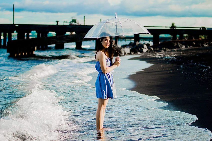 When blue's collide • https://www.instagram.com/ynonsia My Favorite Place Color Sea Water Clouds And Sky Standing Person Girl Transparent Portrait Of A Woman Tranquility Blue Seaside Wave Beauty In Nature Photography The Week Of Eyeem The Week On EyeEem Weekend Week On Eyeem EyeEm Best Shots Eye4photography  EyeEm Best Edits The Great Outdoors - 2017 EyeEm Awards