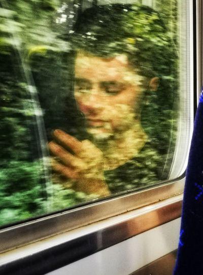 Blurred motion seen through train window