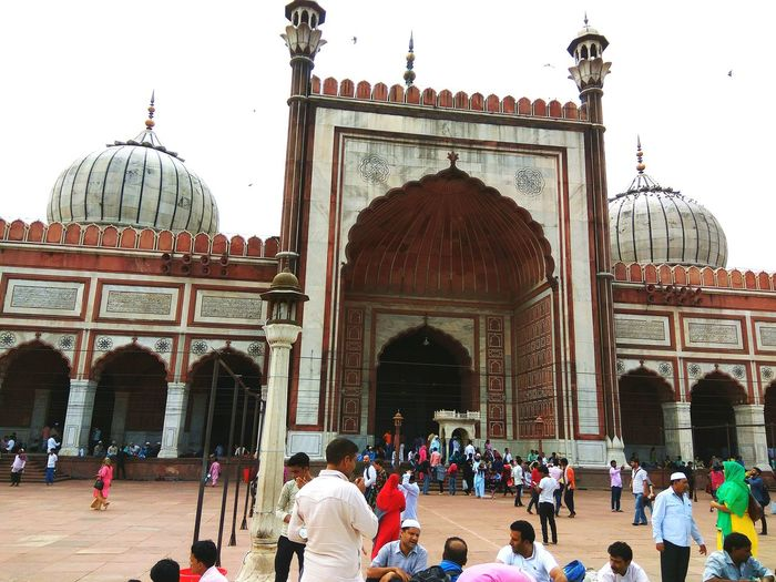 Travel Destinations Large Group Of People Dome Tourism Architecture History Built Structure Tourist Attraction  Tourist On Jama Masjid Monuments Travel Photography Sky City Delhi