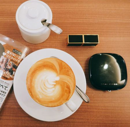 Coffee - Drink Coffee Cup Cappuccino Magazines Makeup Table Saucer Beverage Foodphotography High Angle View Breakfast FreshonEyeem Fresh On Eyeem