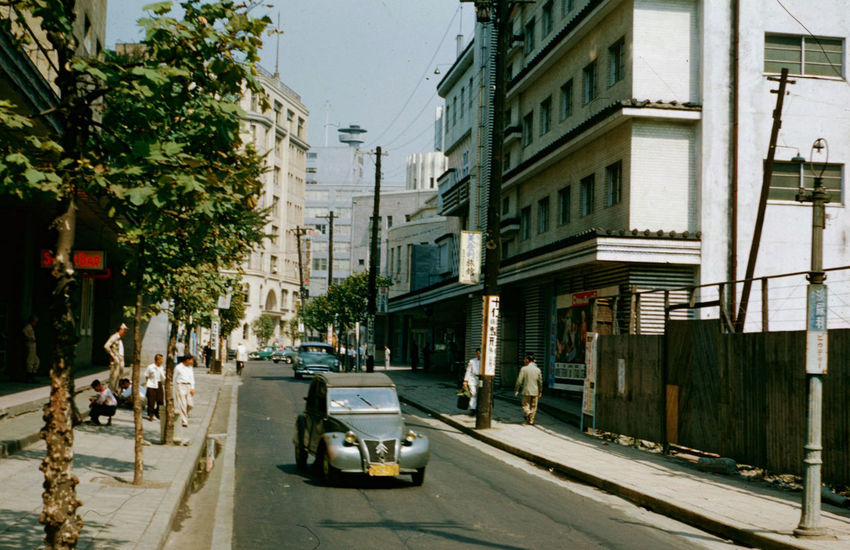 Tokyo Street Cars Japan Tokyo Street 1954 Architecture Building Building Exterior Built Structure Car City City Life City Street Day Incidental People Land Vehicle Mode Of Transportation Motor Vehicle Nature Outdoors Plant Road Street Traffic Transportation Tree
