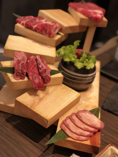 Food And Drink Freshness Meat Raw Food Steak Table Wood - Material