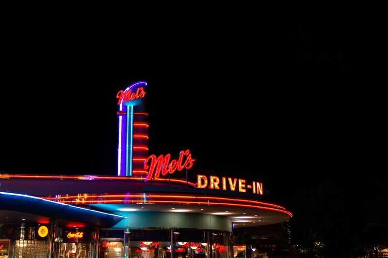 American style restaurant. American Night Lights American Style Architecture Arts Culture And Entertainment Building Exterior Built Structure City Copy Space Illuminated Lighting Equipment Neon Night Nightlife Outdoors Restaurant Sign Text Travel Travel Destinations Western Script