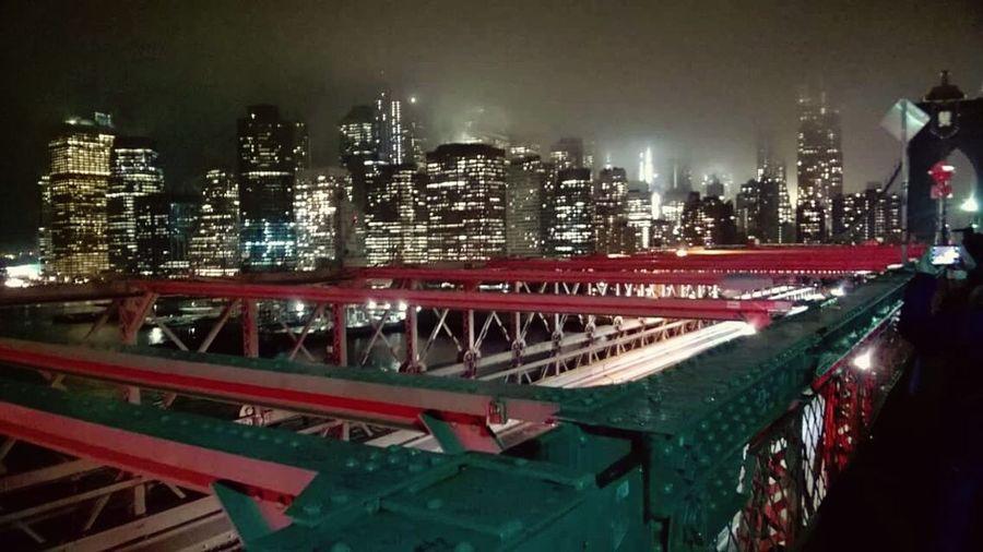 Night Illuminated Building Exterior City Brooklyn Bridge  Magical Places