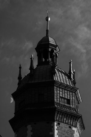 Moon Moon And Clouds Cracow Poland Kazimierz Architecture B&w Building Exterior Built Structure City Trip Citytrip Cloud - Sky Cracow Day History Krakow Low Angle View No People Outdoors Place Of Worship Red Filter Religion Sky Spirituality Tower