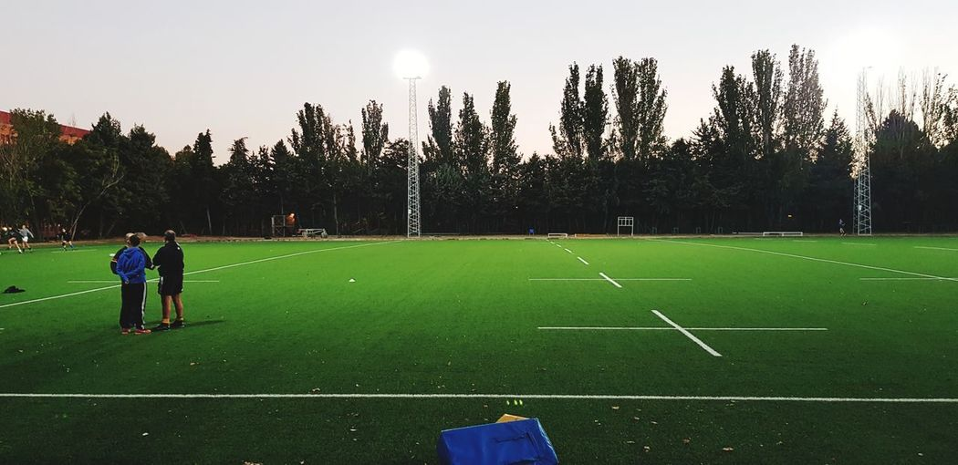 Campo de sueños Rugby Rugby Pitch Green Grass Soccer Field Soccer Player Competition Sport Men Soccer Competitive Sport Playing Soccer Uniform