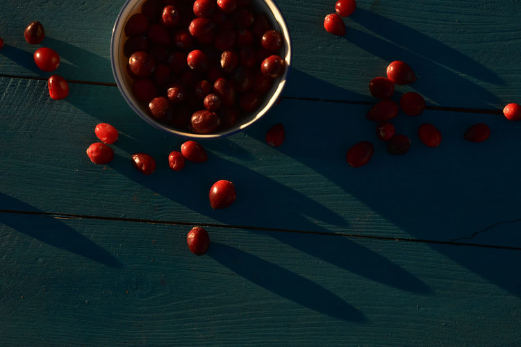 Directly above shot of red fruits on wooden table
