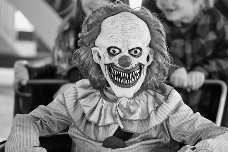 Portrait of person wearing clown mask