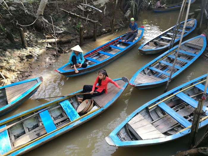 High Angle View Nautical Vessel Transportation Water River Mode Of Transport Rowboat Vietnam Vietnamese