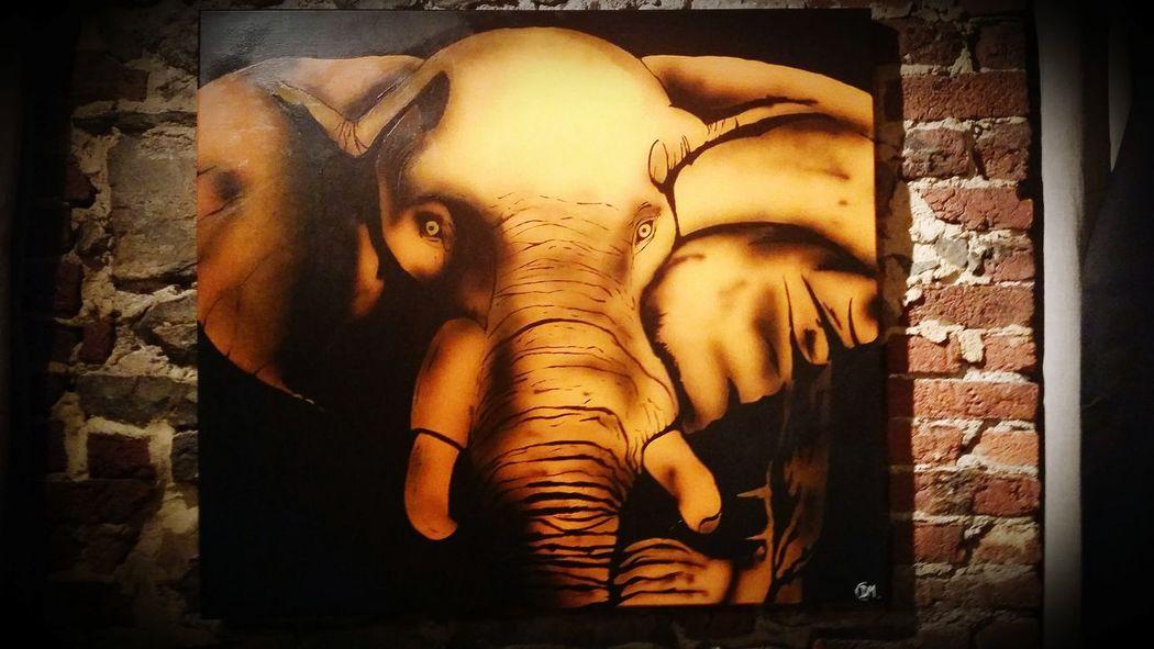 Peinture réaliser pour ma femme <3 90×90 Acrylic Painting Aerography Tableau Peinture Elephant