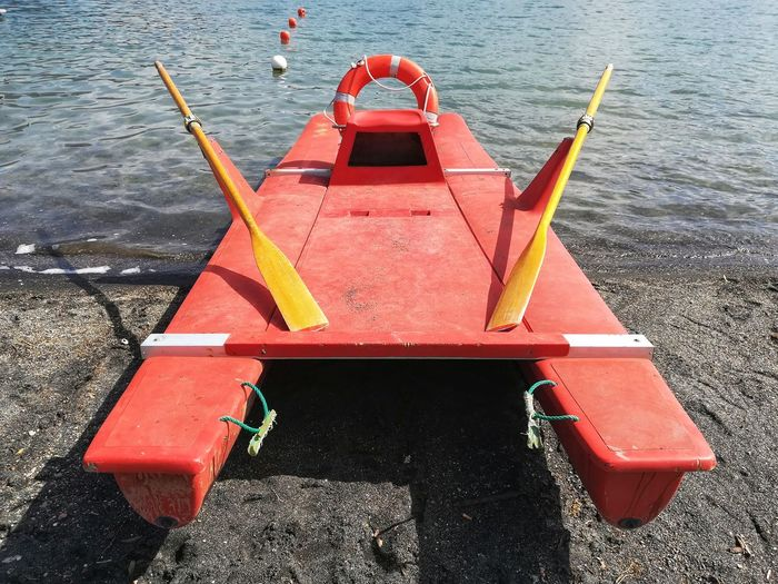 Lifeboat Warning Lifeguard Boat Life Vest Rowing Red Rowing Boat Rowing Boat Lake Saving Rescue Symbol Safety Lifeboat Water Red Sea Buoy High Angle View Boat