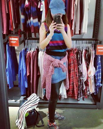 Hello World Colors Colours Selfie Blue Cap Sweater Leggings Samsung Stripes Good Morning Narcissism Showcase April Human Meets Technology Girl Power
