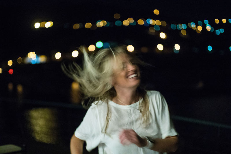 Dancing in the moonlight Dark Night Female Blonde Youth Dancing Happy Woman Travel Destinations Portugal Porto Douro