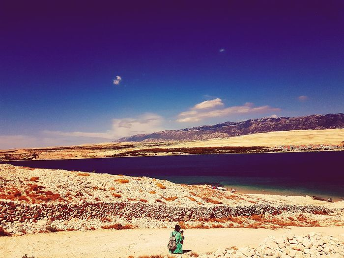 Novalja Island Of Pag One Person Beach Sky Blue Nature Outdoors One Woman Only Scenics Landscape Day People Clear Sky Beauty In Nature Island Summer Your Ticket To Europe The Week On EyeEm Lost In The Landscape