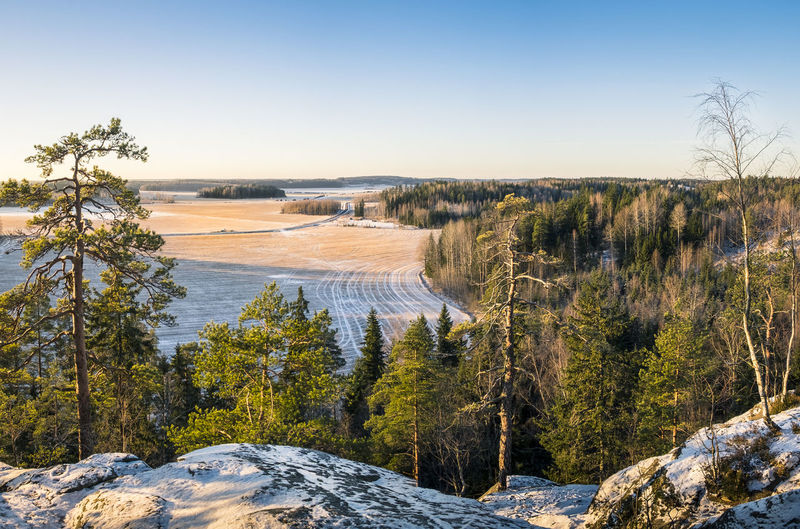 Scenic landscape with slightly snow in southern Finland. Blue Sky Clear Sky Country Countryside Day Field High Hill Horizon Over Land Landscape Light And Shadow Nature No People Outdoors Pine Tree Rock Scenics Stone Stony Sunset Tree Trees
