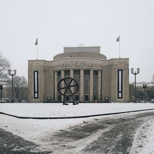 Architecture Built Structure No People Social Issues Outdoors Day Cold Temperature Berlin, Germany  Berlin Building Exterior Architecture Snow Winter City Volksbühne Volksbühneberlin