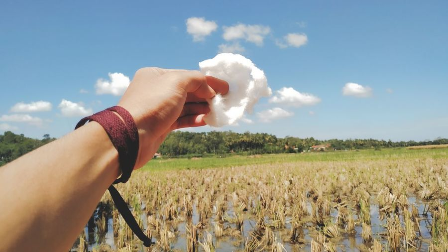 Midsection of person holding hands on field against sky
