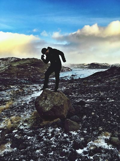 Sky Full Length Real People One Person Day Nature Outdoors Water Rock - Object Leisure Activity Beauty In Nature Scenics Cloud - Sky Lifestyles Tranquil Scene Men Glaciers Iceland Iceland Trip Iceland_collection