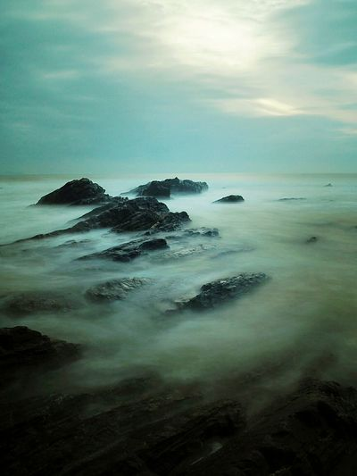Sea Beach Landscape Sea And Sky Soft Malaysia Tanjong Jara Landscape_photography Morning Island Cloud - Sky Reflection Wave Outdoors Sunset Scenics No People Horizon Over Water Sky Day