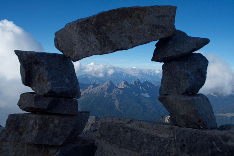 Scenic view of lagorai mountains seen from stack of rocks