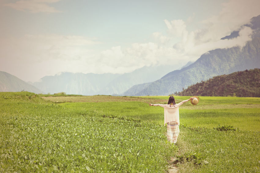 Girl walking through the fileds Lifting Asian  Beauty Blowing Chinese Dreams Female Field Freedom Girl Grass Green Hands Happy Landscape Lifestyle Meadow Mountain Nature One Person Outdoors People Sky Standing Young Adult