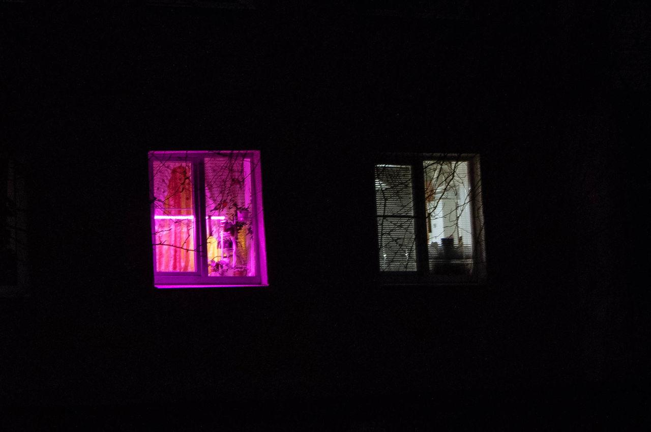 window, indoors, no people, illuminated, black background, architecture, day