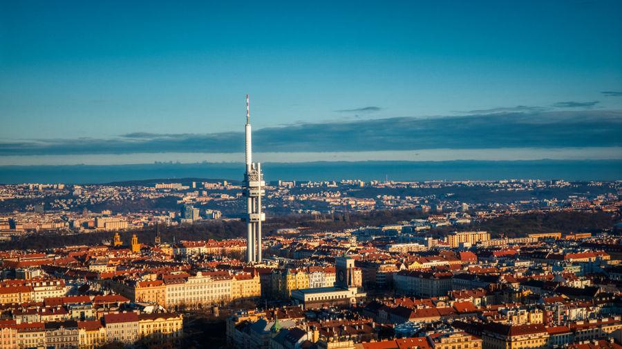 Prague aerial view tv tower summer light