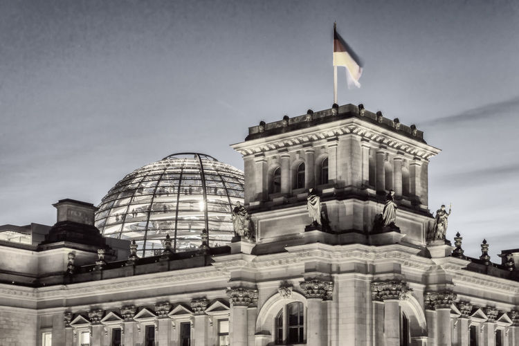 Back of Reichstag building illuminated at night in Berlin, Germany Architecture Back Of Building Berlin Building Exterior City Color Image Flag German Flag Germany🇩🇪 Government History Horizontal Illuminated Night No People Outdoors Part Of Building Photography Politics And Government Reichstag Building Berlin Sky Travel Destinations