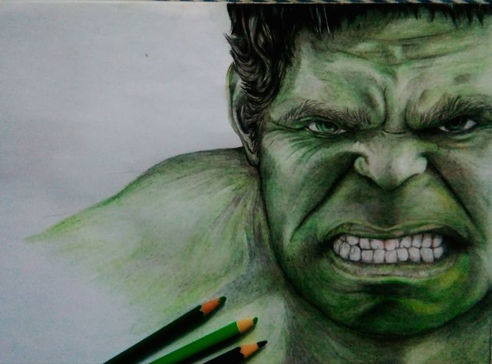 MyDrawing Hulk Angry Smash  Portrait Emotion Art And Craft Avengers Green Colorpencils Sketch Horror Hulkface GAMMA Mutant
