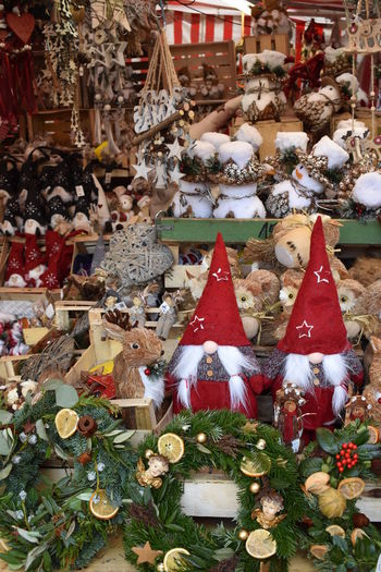 Christmas decoration for sale at market stall