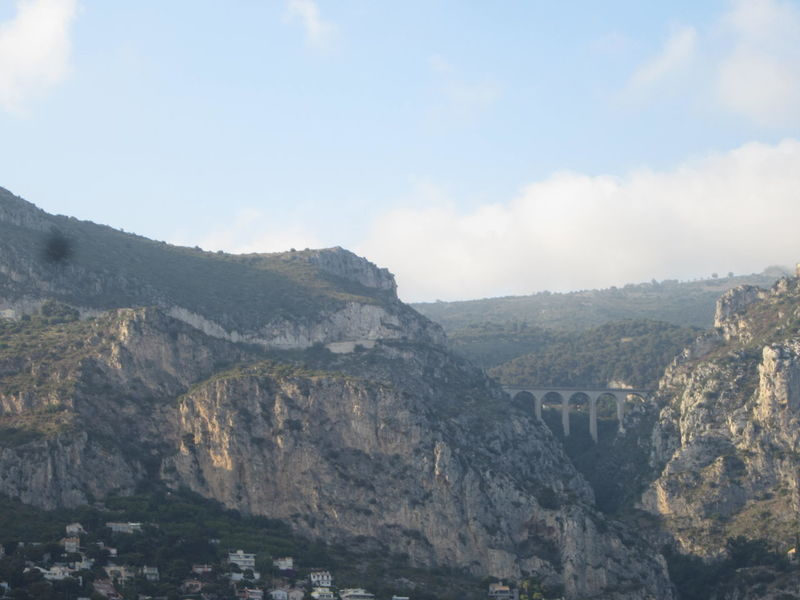 View of a spectacular viaduct, seen from Eze on France's Cote d'Azur. Awe Beauty In Nature Cloud Côte D'Azur Day Eze, France Grasse Landscape Mediterranean  Monaco Mountain Nature Nice, France No People Outdoors Ravine Rock Scenics Sky South Of France Spectacular Travel Travel Destinations Vacations Viaduct