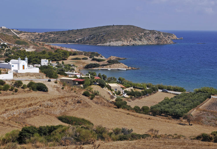 the landscape of Lipsi island, Greece Aegean Sea Church Coastline Lipsi Island Mediterranean Sea Scenic Travel Coast Greece High Angle View Island Land Landscape Lipsi No People Outdoors Scenics Scenics - Nature Sea Tranquil Scene