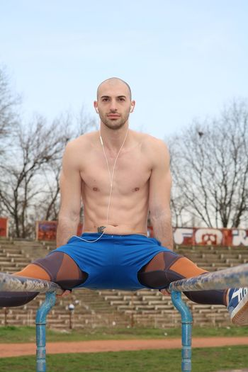 Young athlete exercising outside Sport Sportsman Sports Photography Exercising Exercise Time Athlete Outside Outdoor Outdoor Photography Male Model Modeling Topless, Boy Fit
