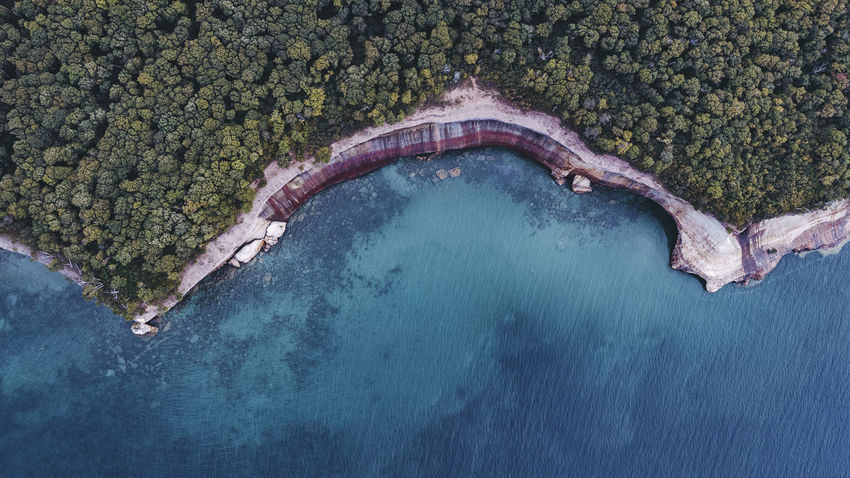 Aerial Landscape Forest Michigan Great Lakes Lake Superior Water Hot Spring Beach Aerial View Tree High Angle View Planet Earth Swimming Pool Shore Calm Coastline Tranquility