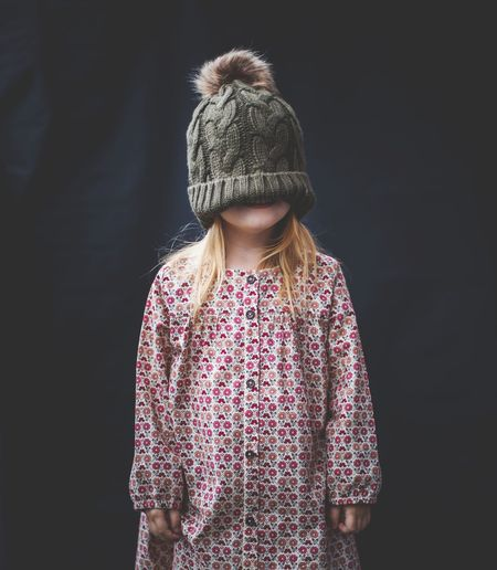 One Person Children Only Black Background Front View Portrait People One Girl Only Child Beauty Girls Childhood Blond Hair Portrait Photography Fun Cold Days Fashion Stories EyeEmNewHere A New Perspective On Life