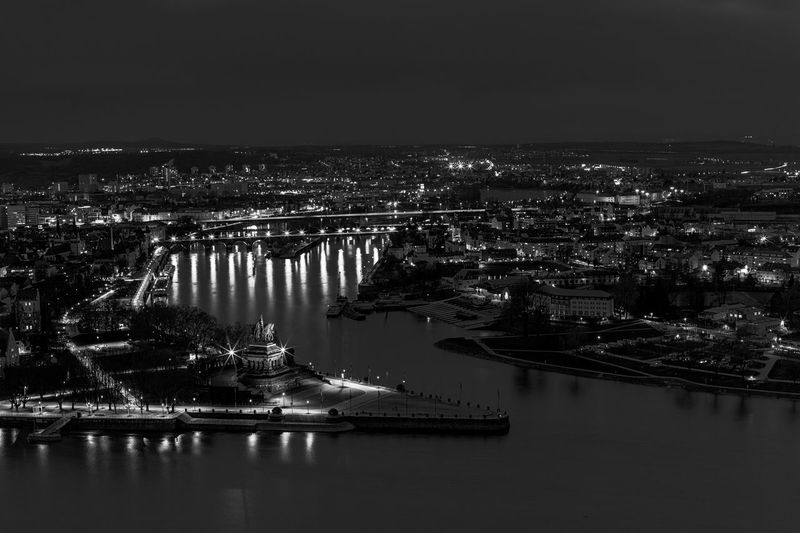 Kaiser Wilhelm Statue auf dem Deutschen Eck in Koblenz Canonphotography 50mm Nightphotography EyeEm Best Shots Night Panorama Traveling Travel Destinations Travel Germany Andernach Monochrome Blackandwhite Black And White Urban Urban Skyline Urban Geometry Urbanphotography EyeEmNewHere Long Exposure City Water Nautical Vessel Sea Cityscape Illuminated Sky Architecture Boat Horizon Over Water