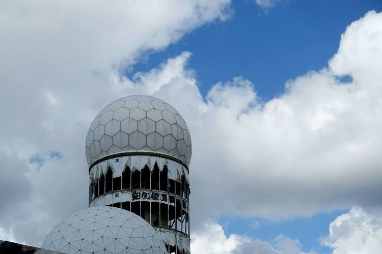 Low angle view of abandoned national security agency at teufelsberg