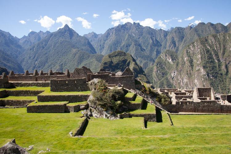 Peru, Cusco Region, Urubamba Province, Machu Picchu, Elevated View Of Grassy Terraces