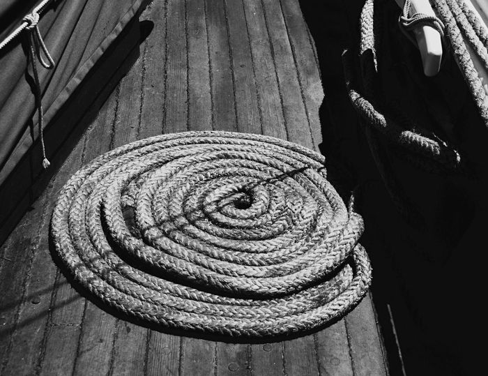 Wood - Material No People High Angle View Day Outdoors Nature Rope Nautical Nautical Vessel Nautical Theme Nautical Equipment Newburyport MA Black And White Shadows