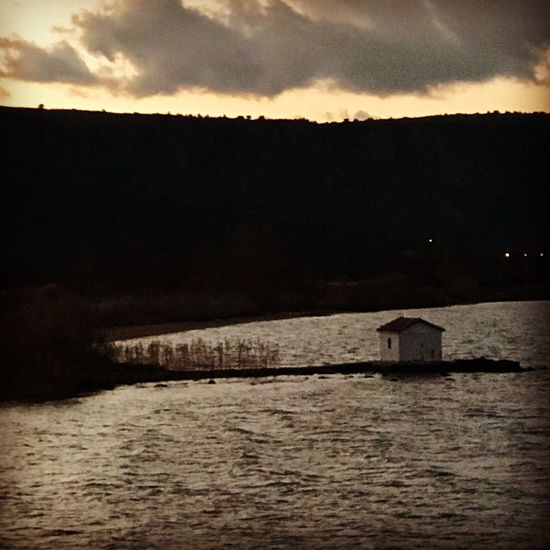 Sunset Nature Beauty In Nature Tranquil Scene Sky Water Scenics No People Tranquility Silhouette Built Structure Outdoors Building Exterior Architecture Mountain lesvos; greece