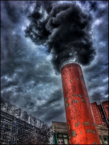 Steam pipe on 7th Ave. - 11/30/18 Malephotographerofthemonth EyeEmNewHere IPhone Edits W/ Snapseed My Point Of View Environmental Issues Low Angle View Smoke Stack Escaping Steam