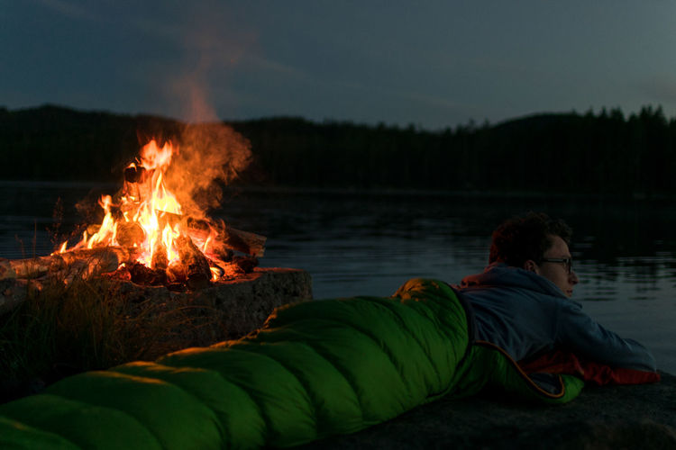Beauty In Nature Camping Fire Flame Lake Landscape Nature Outdoors Sky Sweden Water People And Places
