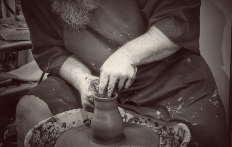 thrower Potter Ceramist Clay Clay Work Clay Art Loam Monoart Wheel Slovakia Hands Handmade Hands At Work