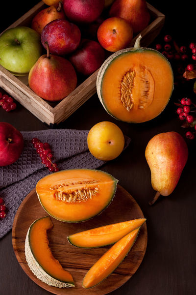 I love autumn colors! Autumn Autumn Colors Dessert Black Background Close-up Day Food Food And Drink Freshness Fruit Harvest Healthy Eating Indoors  Melon No People Still Life Studio Shot Table