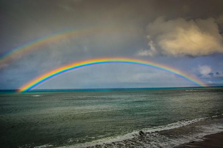Double rainbow over sea against cloudy sky