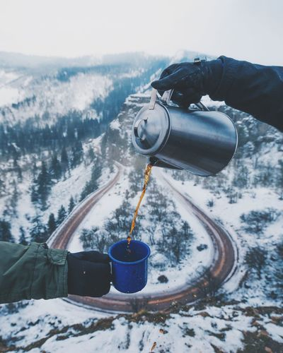 Nothing like a hot cup of coffee on a cold snowy morning✌ Winter Cold Temperature Snow Day Outdoors One Person Technology Nature People Close-up Sky First Eyeem Photo EyeEmNewHere