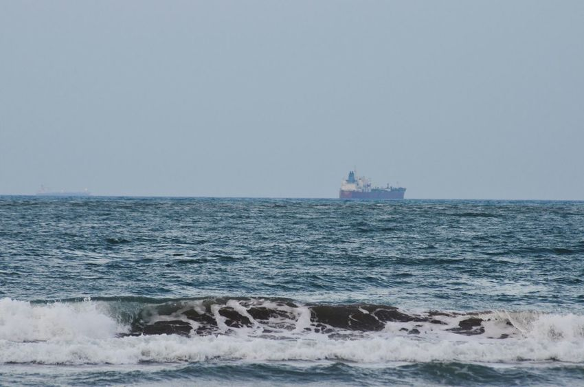 TuxpanVeracruz Sea Horizon Over Water Water Wave Transportation Nautical Vessel Surf Scenics Mode Of Transport Motion Clear Sky Copy Space Seascape Beauty In Nature Waterfront Ship Tranquil Scene Tranquility Wake - Water Nature