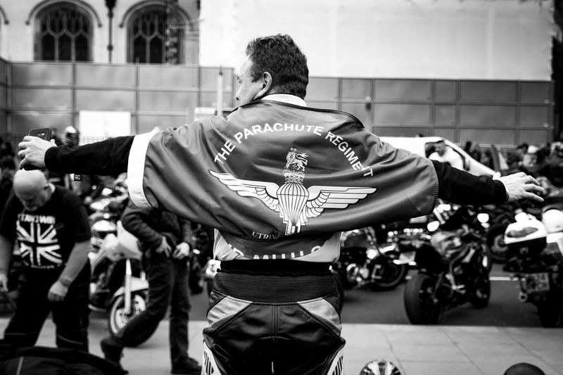Rolling Thunder motorcyclists and retired soldiers descend on Parliament Square in London to protest at the decision to charge Soldier F over Bloody Sunday.