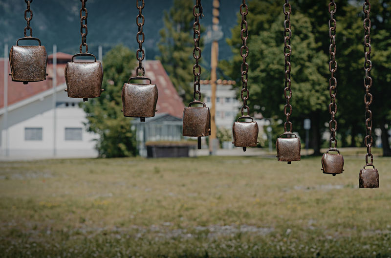 Several cowbells as an instrument on a playground